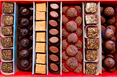 Box of homemade chocolates