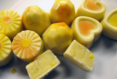 Molded chocolates, white chocolate